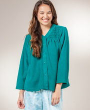 Miss Elaine Bed Jacket  - Brushed Terry Fleece Snap Front In Jade