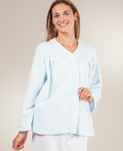 Miss Elaine Brushed Terry Fleece Snap Front Bed Jacket  - Light Blue