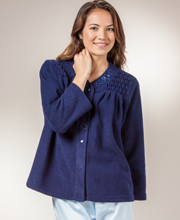 Miss Elaine Bed Jacket  - Brushed Terry Fleece Snap Front In Navy