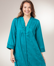 Miss Elaine Robes - Zip Front Long Brushed Back Satin Robe in Jade