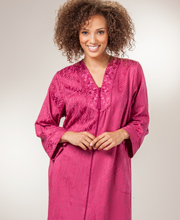 Brushed Back Satin Robe - Miss Elaine Zip Front Long Robe in Merlot