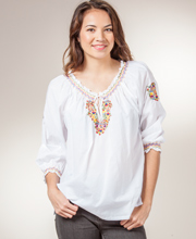 La Cera Boutique Tops - Woven Cotton Peasant Blouse - Fiesta Camisa