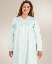Miss Elaine Brushed Back Satin Nightgown -  Long Smocked in Aqua