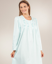 Miss Elaine Nightgowns - Brushed Back Satin Pintucked Long in Aqua