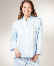 Brushed Back Satin Pajamas by KayAnna in Light Blue