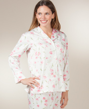 Brushed Back Satin Pajamas  - Carole Hochman Pink Carnation