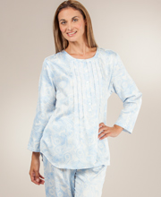 Brushed Back Satin Pajamas By Carole Hochman - Sky Mirage