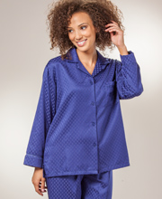 Brushed Back Satin Pajamas by Miss Elaine - Flannel Backed Satin PJs In Navy Diamonds