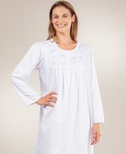 Brushed Back Satin Nightgown by Miss Elaine - Round Neckline Long Pintucked in Lilac