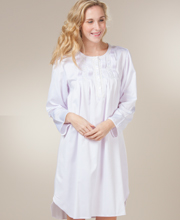 Nightgowns by Miss Elaine - Brushed Back Satin Pintucked Short Gown in Lilac