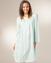 Brushed Flannel Back Satin Nightgown By Miss Elaine - Waltz Pintucked In Aqua