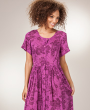 Tie-Back Dresses - Phool Long Button Front Rayon Dress in Plumeria