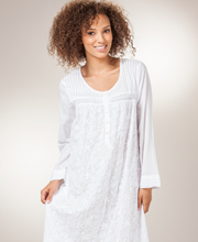 Plus Cotton Nightgowns - La Cera Boutique Embroidered Long Sleeve in Floral White