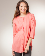 Women's Cotton Tops - Phool 2/3 Sleeve Button Front Pintucked in Melon