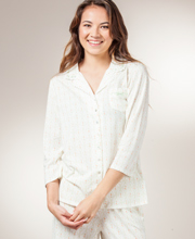 Aria Cotton Pajamas - 2/3 Sleeve Knit in Ivory Diamonds