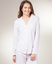 Aria Cotton Pajamas - Long Sleeve Cotton-Rich Knit Long PJs - Thistle Stripe
