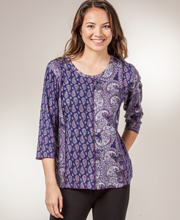 Phool Tops - Cotton Knit Scoop Neck 2/3 Sleeve Shirt - Paisley Shimmer