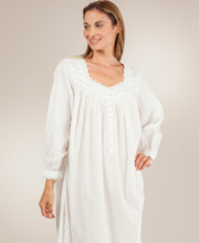 Cotton Nightgowns - Eileen West Long Sleeve Ballet in Creamy White