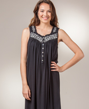 Eileen West Nightgown Cotton Modal Sleeveless Long - Midnight Glamour