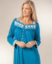 Eileen West Nightgown - Cotton Modal Long Sleeve Long In Blue Symphony