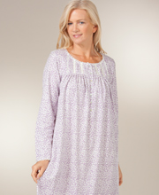 Eileen West Cotton Nightgowns - Long Sleeve Jersey Knit in Vino Ditsy
