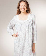 Eileen West Nightgown - Cotton Long Sleeve Mid Length in Creamy Floral