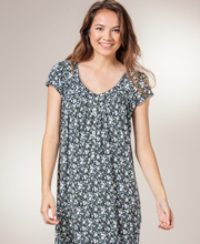 Nightgowns by Eileen West - Modal Knit Short Sleeve - Midnight Garden