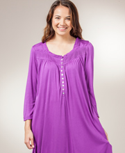 Eileen West Nightgown - 3/4 Sleeve Mid-length Modal Gown - Tender Plum