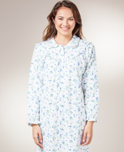 Flannel Nightgowns by KayAnna - Peter Pan Collar Gown in Blue Bonnet