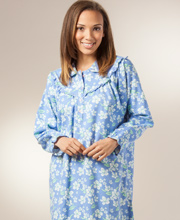 Cotton Flannel Nightgowns - KayAnna Flannel Sleepwear in Periwinkle Floral