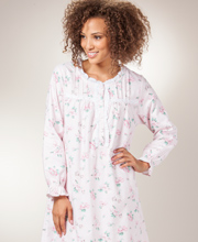 La Cera Flannel Nightgowns - Long Round Neck Gown in Pink Garden