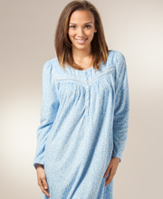 Aria Fleece Nightgowns - Long Sleeve Ballet Gown in Dotted Blue