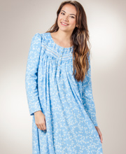 Aria Fleece Nightgown - Long Sleeve Ballet Gown in Scrolling Vines