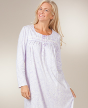 Aria Cotton Nightgowns - Cotton-Rich Knit Long Sleeve Long Gown In Thistle Paisley