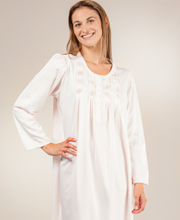 Miss Elaine Nightgowns - Brushed Flannel Back Satin Round Neckline Long Pintucked in Pink