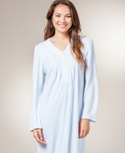 Miss Elaine Nightgown - Cuddleknit V-Neck Long Gown in Soft Blue