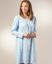 Cotton Nightgowns by Aria - Long Sleeve Waltz in Baltic Blue
