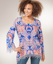 Tunic Blouse by Sienna Rose - Long Paisley Top in Intensity