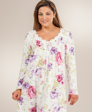 Cotton Sleepshirt by Carole Hochman - Long Sleeve Knit Short Nightgown - Blooming Garden