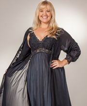 Plus Shadowline Silhouette Gown/Robe Peignoir Set - Black