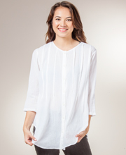 Phool Cotton Tunic - Button Front 2/3 Sleeve Pintucked Shirt in White
