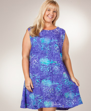 Bali Batiks Short Sleeveless A-Line Plus Sun Dress - Wisteria Garden