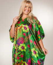 Sante Women's Satin Charmeuse Beaded Neckline Caftan - Rainforest