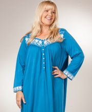 Plus Eileen West Nightgown - Cotton Modal Long Sleeve In Blue Symphony