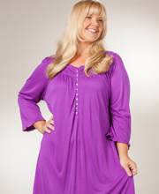 Eileen West Plus Nightgown - 3/4 Sleeve Mid-length Modal Gown - Tender Plum