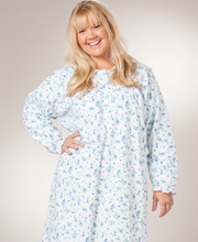 Women's Flannel Nightgowns by KayAnna - Plus Size Cotton Flannel - Peter Pan Collar Gown in Blue Bonnet