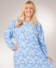 Plus Flannel Nightgowns - KayAnna Cotton Flannel Gown in Periwinkle Floral