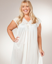 Plus Shadowline Silhouette Flutter Sleeves Long Nightgown - Ivory