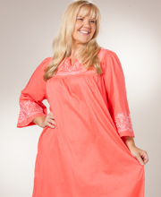 Plus Caftan Dress by La Cera - Embroidered Cotton - Coral Delight
