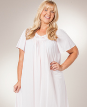 Sale - Plus Shadowline Petals Flutter Sleeves Long Nightgown - Petal Pink